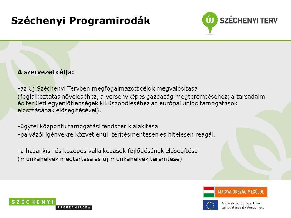 Széchenyi Programirodák A szervezet célja: -az Új Széchenyi Tervben megfogalmazott célok megvalósítása (foglalkoztatás növeléséhez, a versenyképes gazdaság megteremtéséhez; a társadalmi és területi egyenlőtlenségek kiküszöböléséhez az európai uniós támogatások elosztásának elősegítésével).