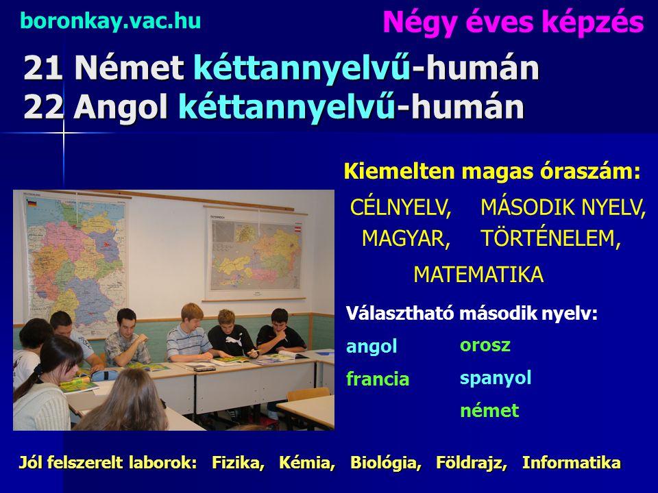 21 Német kéttannyelvű-humán 22 Angol kéttannyelvű-humán boronkay.vac.hu 4 éves képzés Nyelvi táborok 140% (!!!) fölötti nyelvvizsga arány.