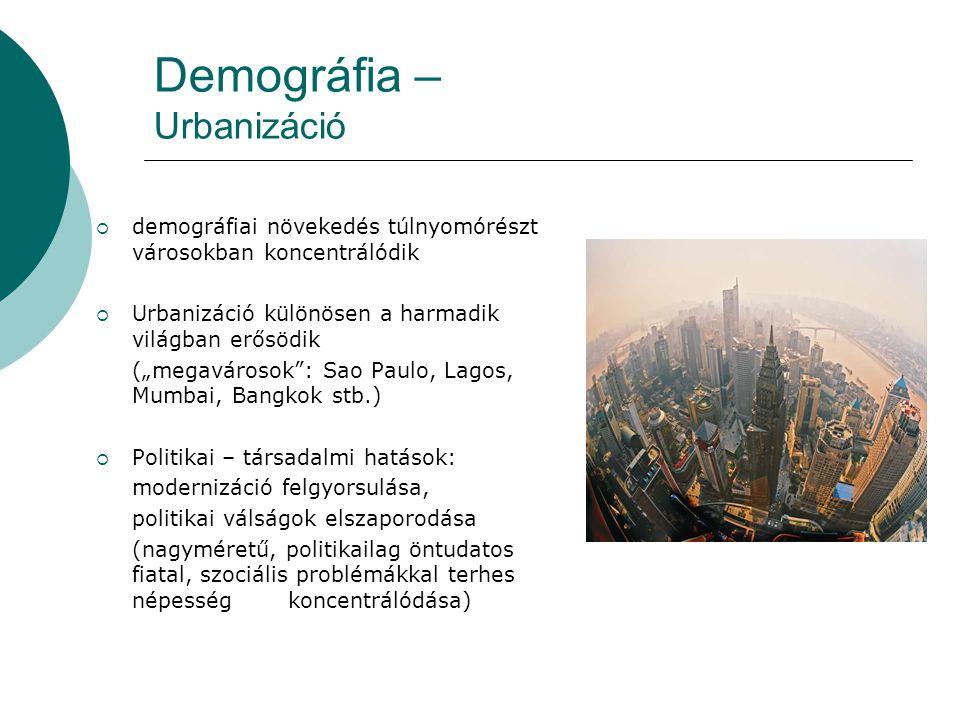 """Demográfia – Urbanizáció  demográfiai növekedés túlnyomórészt városokban koncentrálódik  Urbanizáció különösen a harmadik világban erősödik (""""megavá"""