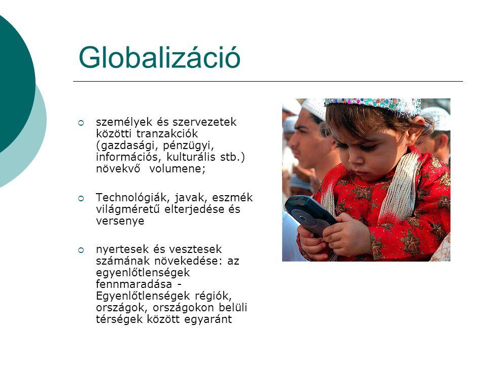 Globalizáció  személyek és szervezetek közötti tranzakciók (gazdasági, pénzügyi, információs, kulturális stb.) növekvő volumene;  Technológiák, java