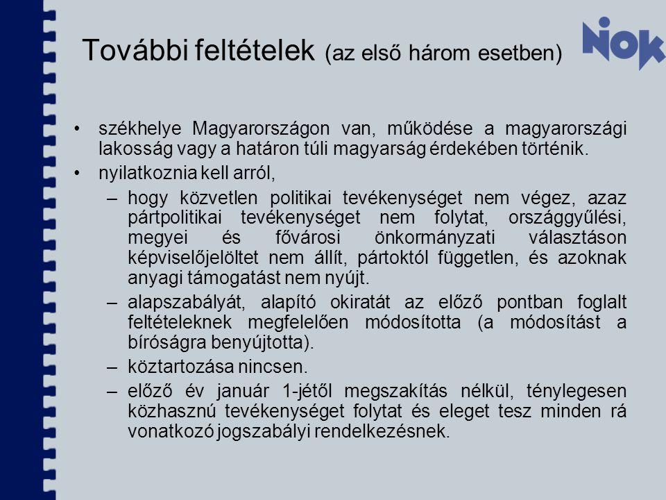 További feltételek (az első három esetben) székhelye Magyarországon van, működése a magyarországi lakosság vagy a határon túli magyarság érdekében tör