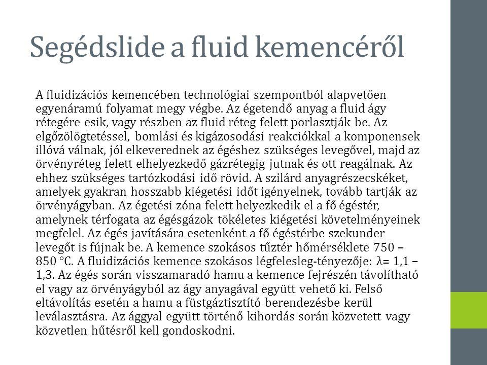 Segédslide a fluid kemencéről A fluidizációs kemencében technológiai szempontból alapvetően egyenáramú folyamat megy végbe. Az égetendő anyag a fluid