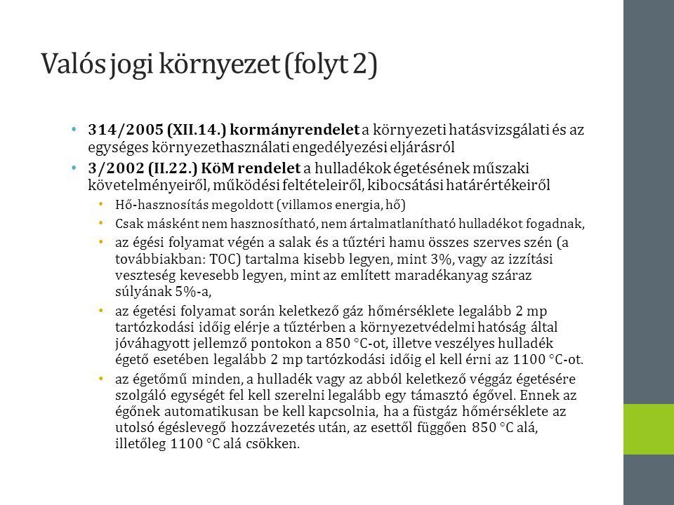 Valós jogi környezet (folyt 2) 314/2005 (XII.14.) kormányrendelet a környezeti hatásvizsgálati és az egységes környezethasználati engedélyezési eljárásról 3/2002 (II.22.) KöM rendelet a hulladékok égetésének műszaki követelményeiről, működési feltételeiről, kibocsátási határértékeiről Hő-hasznosítás megoldott (villamos energia, hő) Csak másként nem hasznosítható, nem ártalmatlanítható hulladékot fogadnak, az égési folyamat végén a salak és a tűztéri hamu összes szerves szén (a továbbiakban: TOC) tartalma kisebb legyen, mint 3%, vagy az izzítási veszteség kevesebb legyen, mint az említett maradékanyag száraz súlyának 5%-a, az égetési folyamat során keletkező gáz hőmérséklete legalább 2 mp tartózkodási időig elérje a tűztérben a környezetvédelmi hatóság által jóváhagyott jellemző pontokon a 850 °C-ot, illetve veszélyes hulladék égető esetében legalább 2 mp tartózkodási időig el kell érni az 1100 °C-ot.