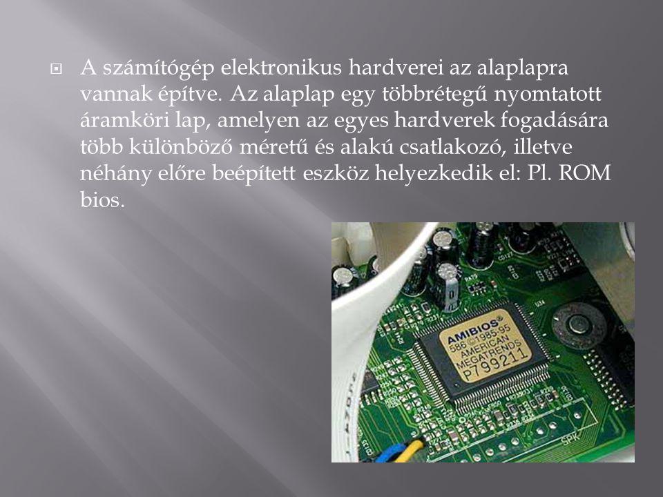  A számítógép elektronikus hardverei az alaplapra vannak építve. Az alaplap egy többrétegű nyomtatott áramköri lap, amelyen az egyes hardverek fogadá