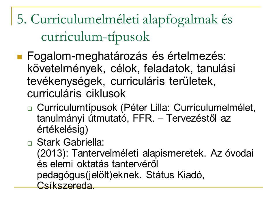 5. Curriculumelméleti alapfogalmak és curriculum-típusok Fogalom-meghatározás és értelmezés: követelmények, célok, feladatok, tanulási tevékenységek,