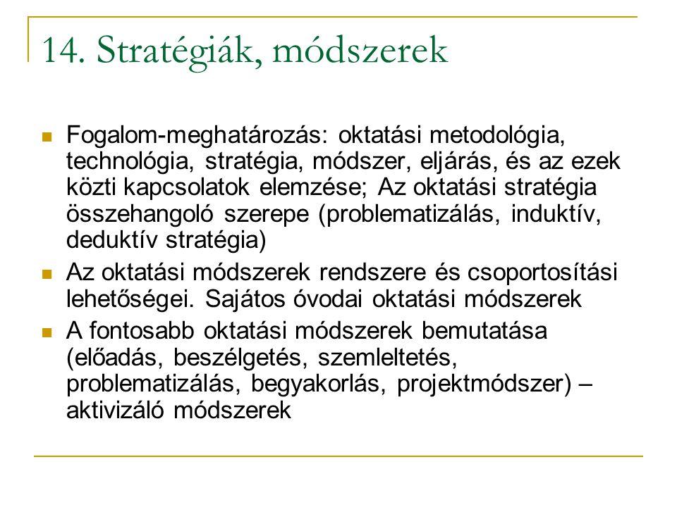 14. Stratégiák, módszerek Fogalom-meghatározás: oktatási metodológia, technológia, stratégia, módszer, eljárás, és az ezek közti kapcsolatok elemzése;