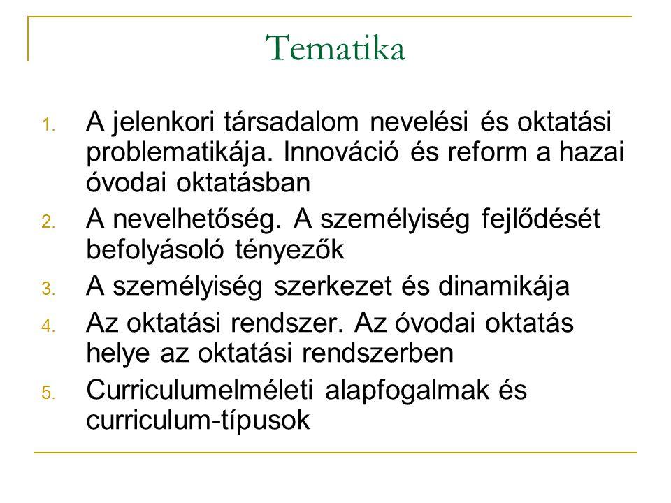 1. A jelenkori társadalom nevelési és oktatási problematikája. Innováció és reform a hazai óvodai oktatásban 2. A nevelhetőség. A személyiség fejlődés