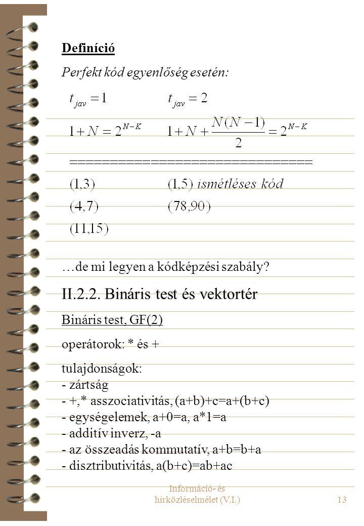 Információ- és hírközléselmélet (V.I.)13 Definíció Perfekt kód egyenlőség esetén: …de mi legyen a kódképzési szabály? II.2.2. Bináris test és vektorté