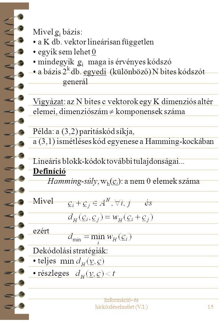Információ- és hírközléselmélet (V.I.)16 Formalizmus: mátrix-vektor szorzás kódolás generátormátrixszal: Kódolás/dekódolás egyszerűsítése: szisztematikus G: (mindig lehetséges) Példa: a (3,2) kód normál/szisztematikus mátrixa dekódolás… Tétel (paritásellenőrzés)
