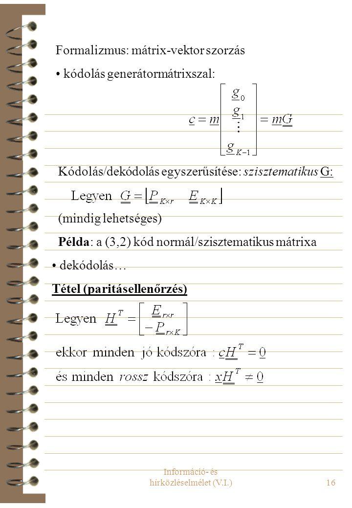 Információ- és hírközléselmélet (V.I.)16 Formalizmus: mátrix-vektor szorzás kódolás generátormátrixszal: Kódolás/dekódolás egyszerűsítése: szisztemati