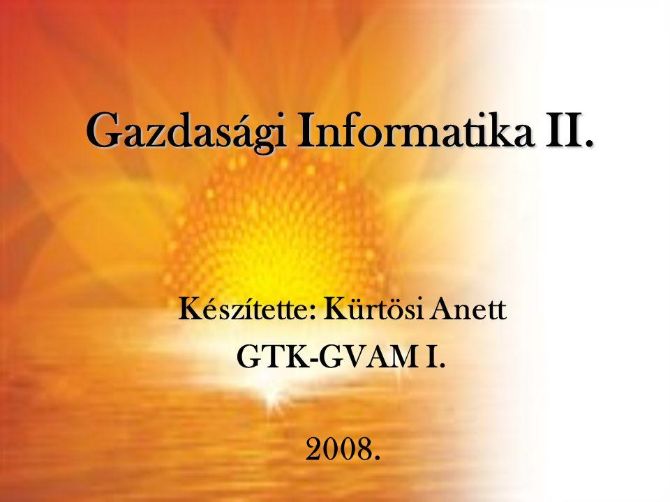 Gazdasági Informatika II. Készítette: Kürtösi Anett GTK-GVAM I. 2008.