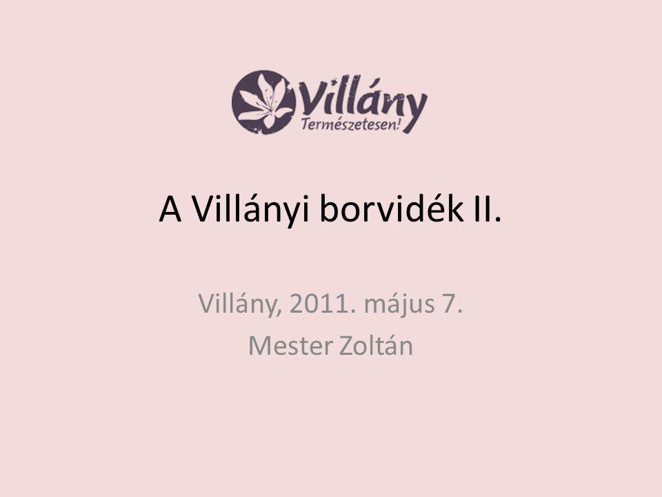 A Villányi borvidék II. Villány, 2011. május 7. Mester Zoltán