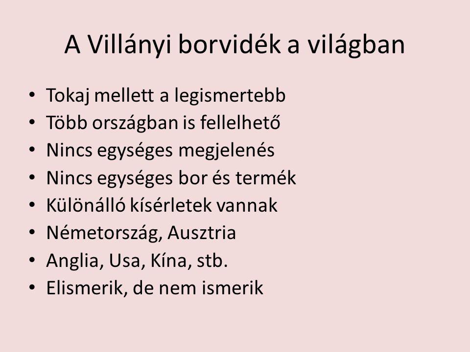 A Villányi borvidék a világban Tokaj mellett a legismertebb Több országban is fellelhető Nincs egységes megjelenés Nincs egységes bor és termék Különá