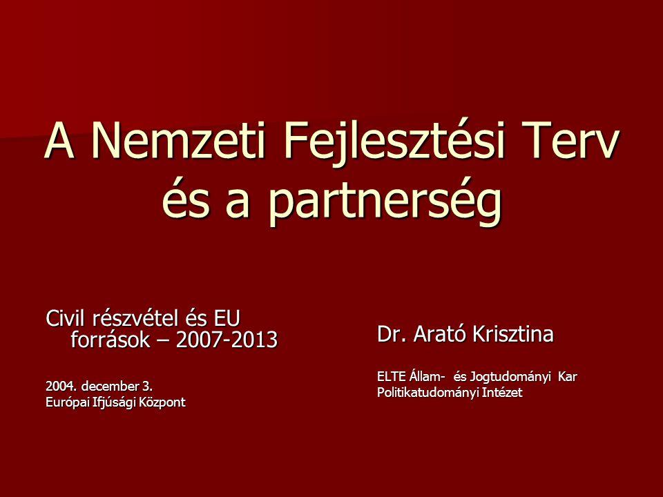 A Nemzeti Fejlesztési Terv és a partnerség Civil részvétel és EU források – 2007-2013 2004.