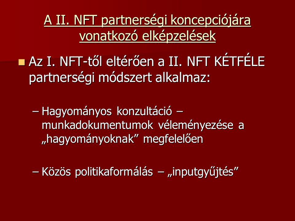 A II. NFT partnerségi koncepciójára vonatkozó elképzelések Az I.