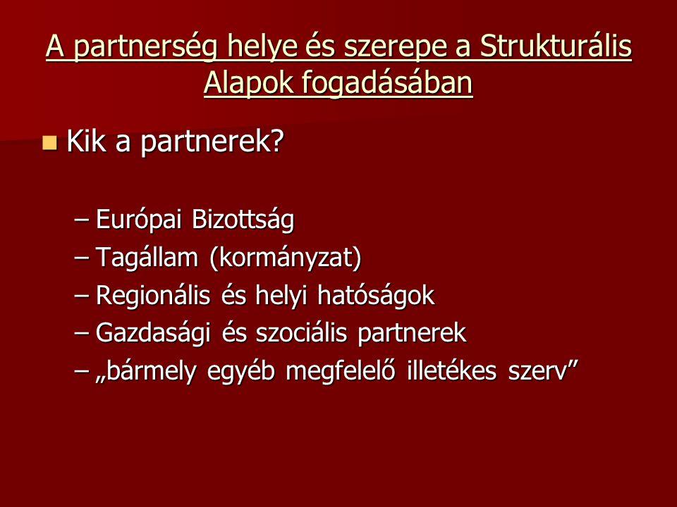 A partnerség helye és szerepe a Strukturális Alapok fogadásában Kik a partnerek.