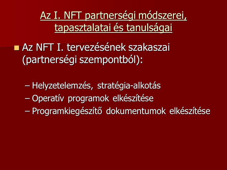 Az I. NFT partnerségi módszerei, tapasztalatai és tanulságai Az NFT I.
