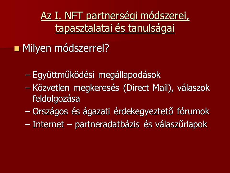 Az I. NFT partnerségi módszerei, tapasztalatai és tanulságai Milyen módszerrel.