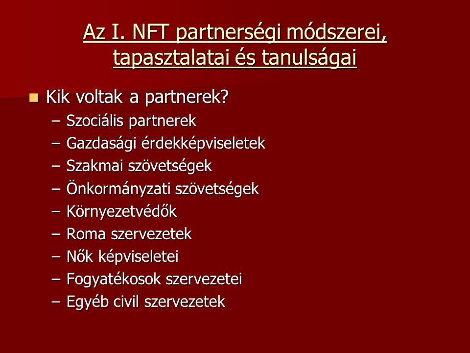 Az I. NFT partnerségi módszerei, tapasztalatai és tanulságai Kik voltak a partnerek.