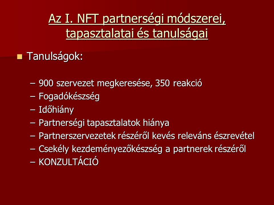 A II.NFT partnerségi koncepciójára vonatkozó elképzelések Az NFT II.