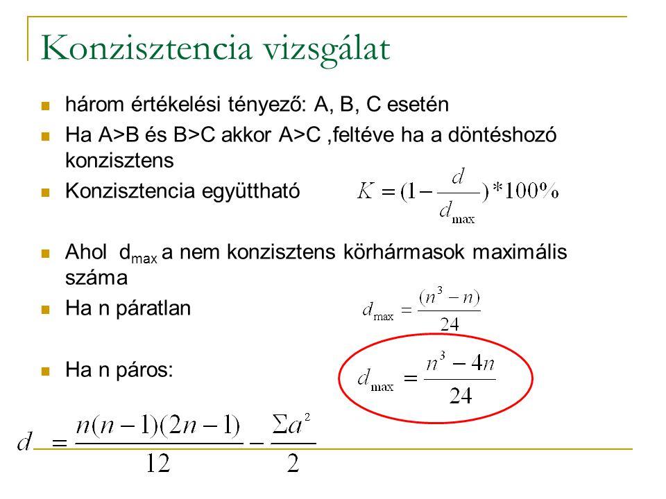 Konzisztencia vizsgálat három értékelési tényező: A, B, C esetén Ha A>B és B>C akkor A>C,feltéve ha a döntéshozó konzisztens Konzisztencia együttható Ahol d max a nem konzisztens körhármasok maximális száma Ha n páratlan Ha n páros: