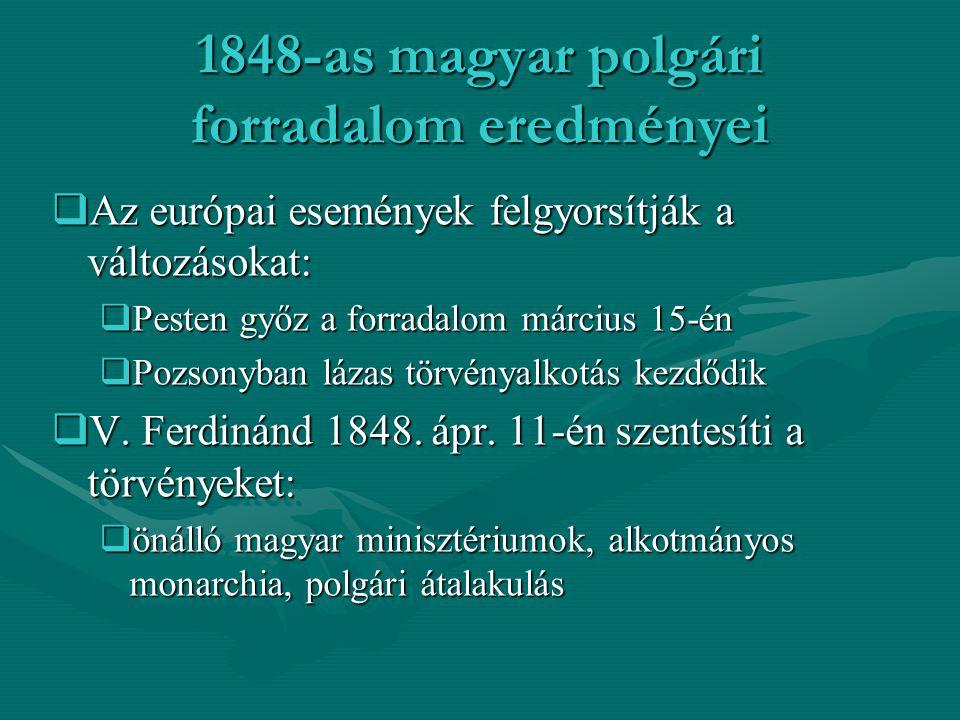 Az 1848-49-es szabadságharc az átalakulás vívmányaiért  Habsburgok monarchiája nem engedheti a magyar polgári átalakulás megvalósítását  Beláthatatlan következményei lennének a birodalom egységét illetően  A magyarok függetlenségét megakadályozzák  1848.