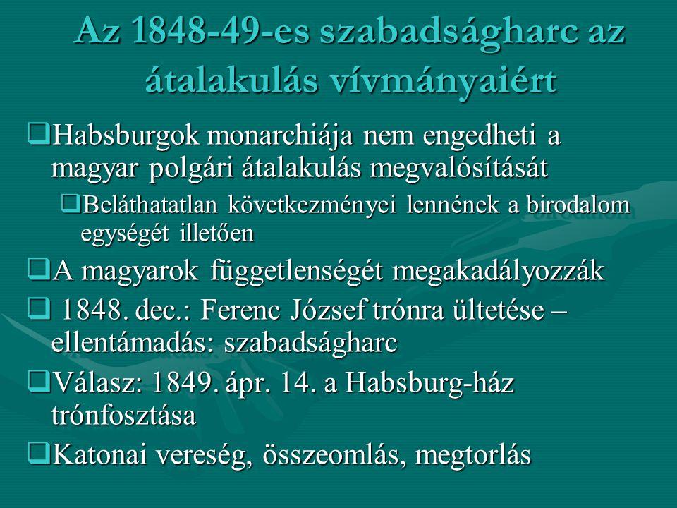 """A Habsburg birodalom egysége fennmarad  A Habsburgok közép-európai uralmi pozíciójuk megtartása végett nem engedik a magyarok függetlenségét és elszakadását  megkezdik Magyarország beolvasztását a birodalomba  A """"jogeljátszás elméletére hivatkozva neoabszolutista, önkényuralmi kormányzási rendszert vezetnek be  Magyarországot kerületekre osztják, újra egyesítik a birodalom tartományait  Ezzel hosszú évekre megreked a magyar polgári átalakulás – passzív ellenállás  A Habsburgok közép-európai uralmi pozíciójuk megtartása végett nem engedik a magyarok függetlenségét és elszakadását  megkezdik Magyarország beolvasztását a birodalomba  A """"jogeljátszás elméletére hivatkozva neoabszolutista, önkényuralmi kormányzási rendszert vezetnek be  Magyarországot kerületekre osztják, újra egyesítik a birodalom tartományait  Ezzel hosszú évekre megreked a magyar polgári átalakulás – passzív ellenállás"""