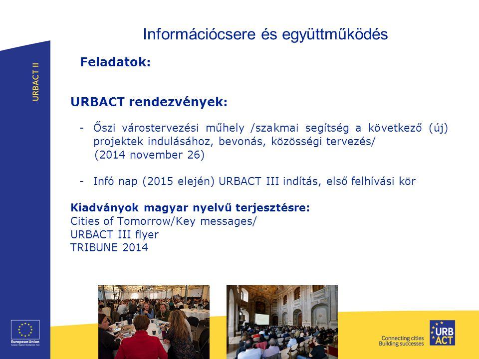 Információcsere és együttműködés Feladatok: URBACT rendezvények: -Őszi várostervezési műhely /szakmai segítség a következő (új) projektek indulásához,