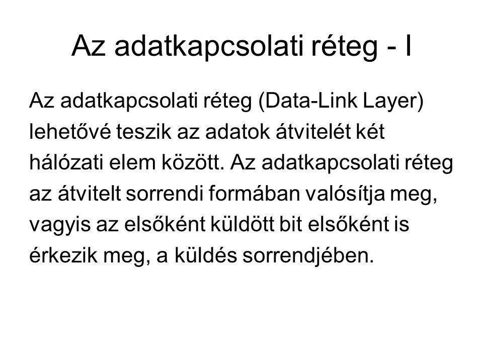 Az adatkapcsolati réteg - I Az adatkapcsolati réteg (Data-Link Layer) lehetővé teszik az adatok átvitelét két hálózati elem között. Az adatkapcsolati