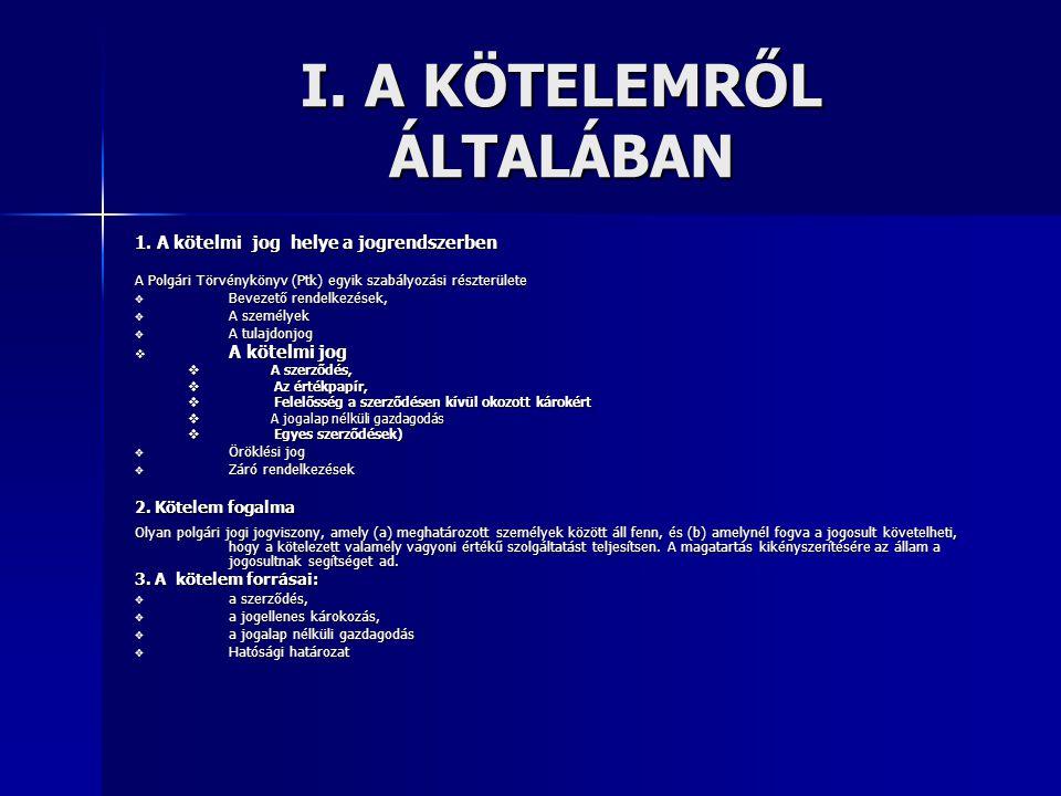 I. A KÖTELEMRŐL ÁLTALÁBAN 1. A kötelmi jog helye a jogrendszerben A Polgári Törvénykönyv (Ptk) egyik szabályozási részterülete  Bevezető rendelkezése