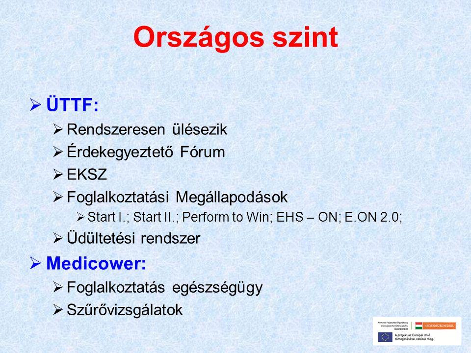 Országos szint  ÜTTF:  Rendszeresen ülésezik  Érdekegyeztető Fórum  EKSZ  Foglalkoztatási Megállapodások  Start I.; Start II.; Perform to Win; EHS – ON; E.ON 2.0;  Üdültetési rendszer  Medicower:  Foglalkoztatás egészségügy  Szűrővizsgálatok