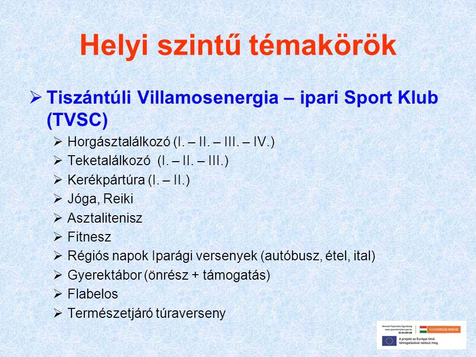 Helyi szintű témakörök  Tiszántúli Villamosenergia – ipari Sport Klub (TVSC)  Horgásztalálkozó (I.