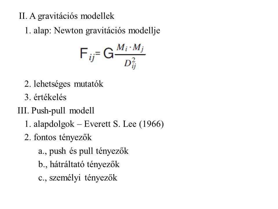 II. A gravitációs modellek 1. alap: Newton gravitációs modellje 2. lehetséges mutatók 3. értékelés III. Push-pull modell 1. alapdolgok – Everett S. Le