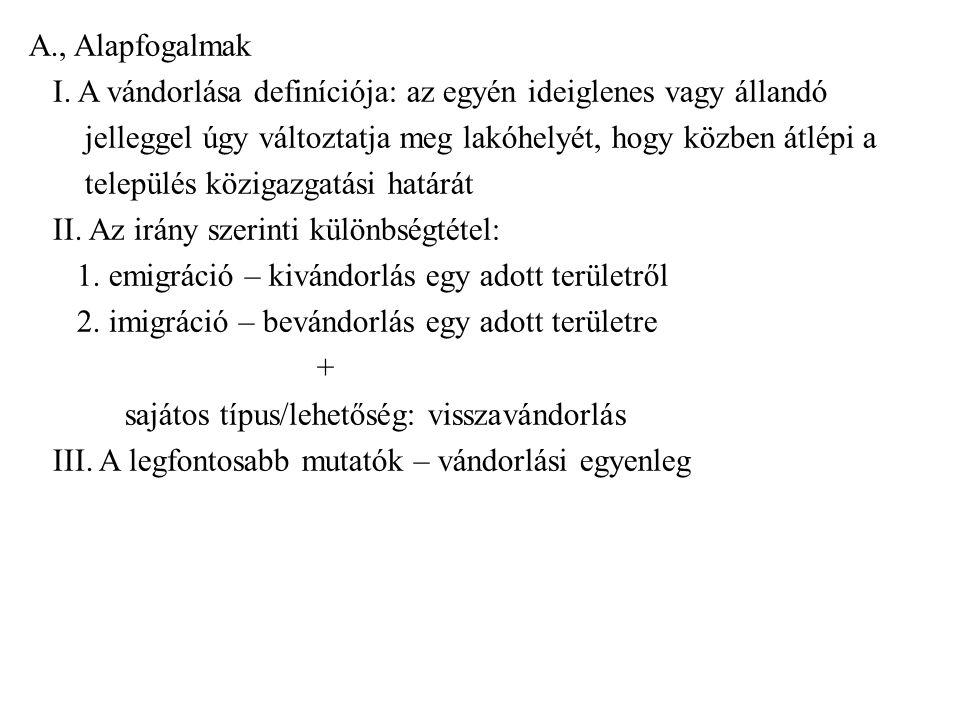 B., A vándorlás kiváltó tényezői (taszító illetve vonzó tényezők) I.