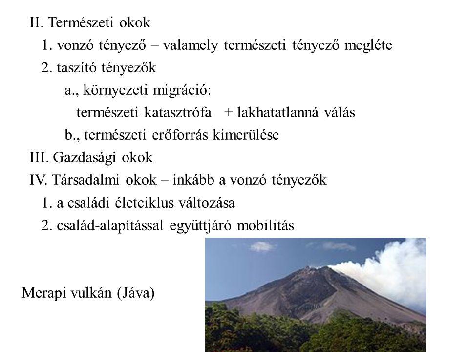 II. Természeti okok 1. vonzó tényező – valamely természeti tényező megléte 2. taszító tényezők a., környezeti migráció: természeti katasztrófa + lakha