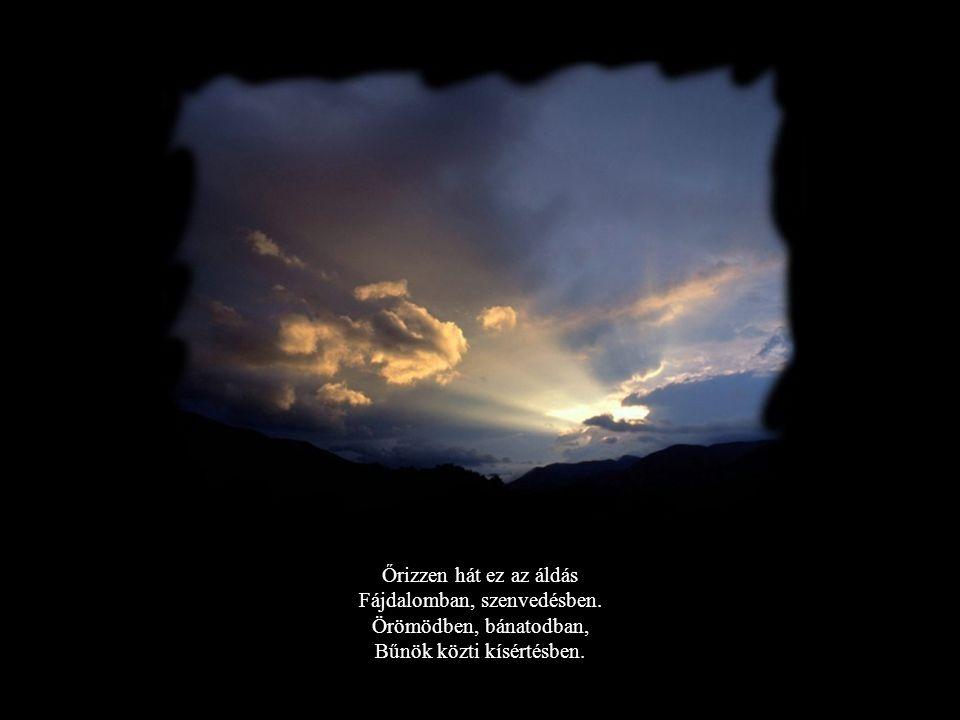 Őrizzen hát ez az áldás Fájdalomban, szenvedésben. Örömödben, bánatodban, Bűnök közti kísértésben.
