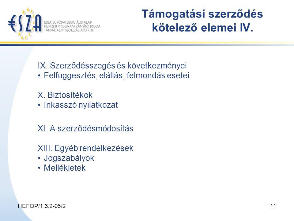 HEFOP/1.3.2-05/211 Támogatási szerződés kötelező elemei IV.