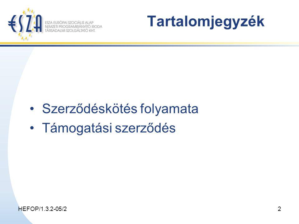 HEFOP/1.3.2-05/22 Tartalomjegyzék Szerződéskötés folyamata Támogatási szerződés