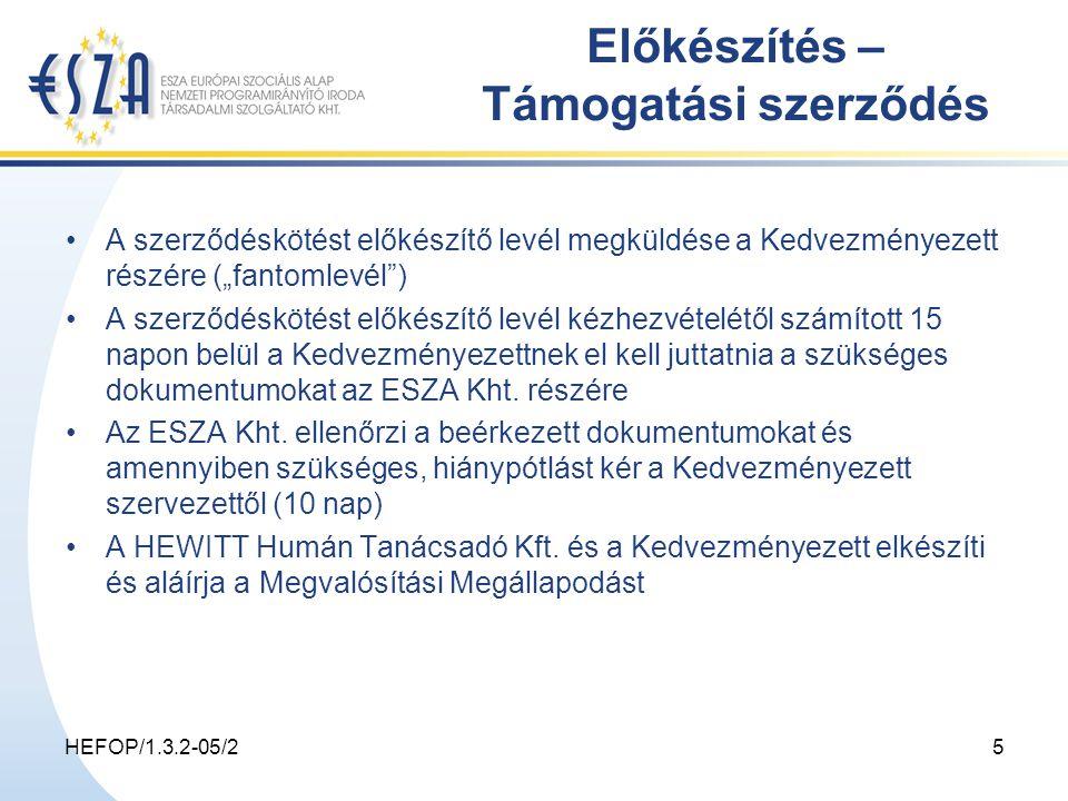 """HEFOP/1.3.2-05/25 Előkészítés – Támogatási szerződés A szerződéskötést előkészítő levél megküldése a Kedvezményezett részére (""""fantomlevél ) A szerződéskötést előkészítő levél kézhezvételétől számított 15 napon belül a Kedvezményezettnek el kell juttatnia a szükséges dokumentumokat az ESZA Kht."""
