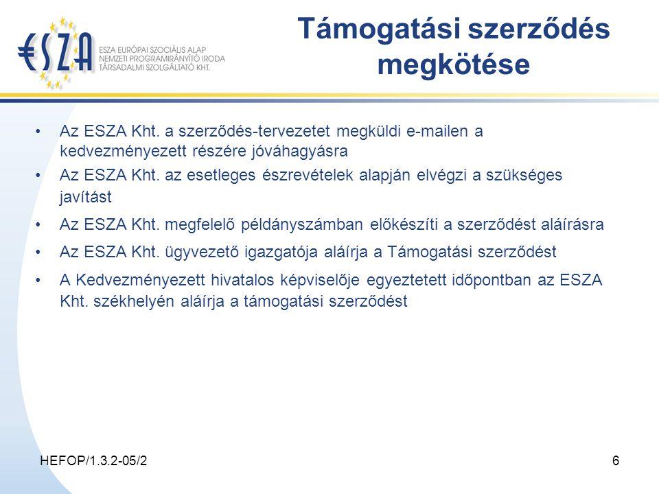 HEFOP/1.3.2-05/26 Támogatási szerződés megkötése Az ESZA Kht.
