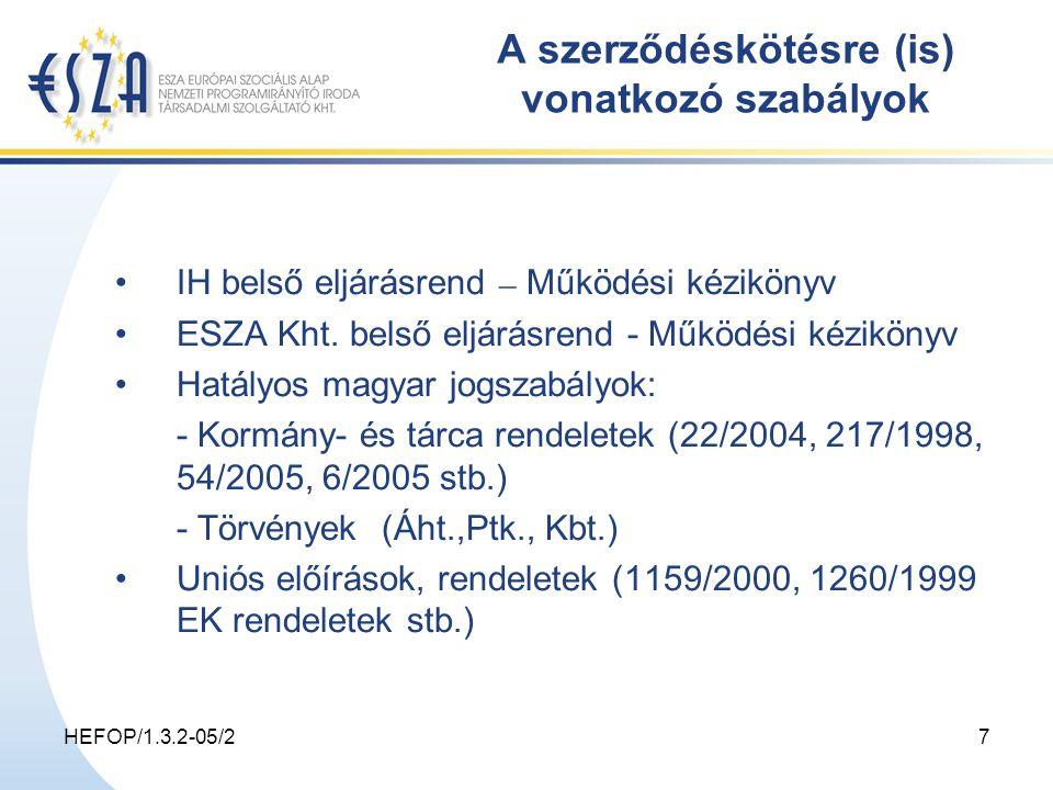 HEFOP/1.3.2-05/27 A szerződéskötésre (is) vonatkozó szabályok IH belső eljárásrend – Működési kézikönyv ESZA Kht.
