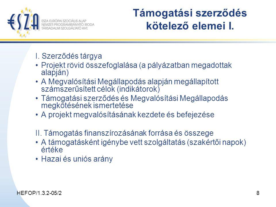 HEFOP/1.3.2-05/28 Támogatási szerződés kötelező elemei I.