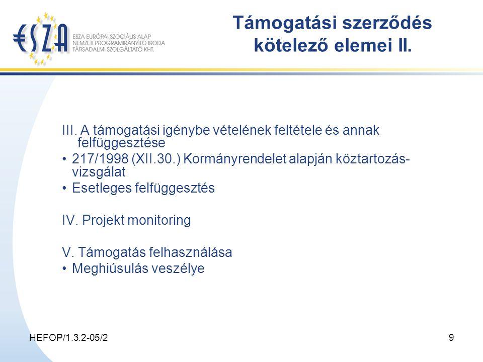 HEFOP/1.3.2-05/29 Támogatási szerződés kötelező elemei II.
