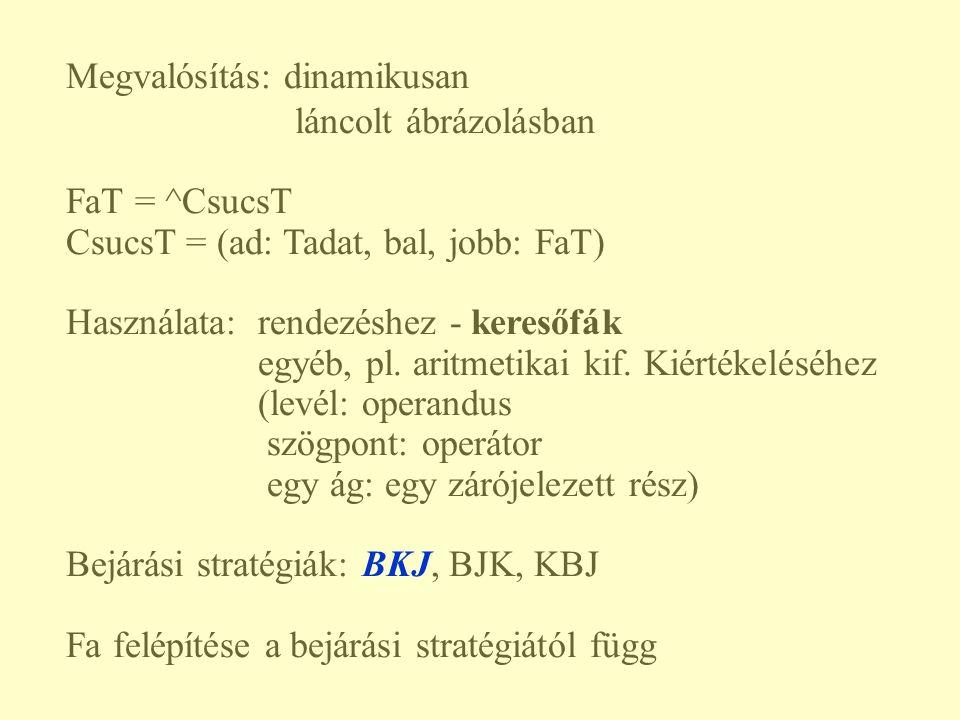 Megvalósítás: dinamikusan láncolt ábrázolásban FaT = ^CsucsT CsucsT = (ad: Tadat, bal, jobb: FaT) Használata: rendezéshez - keresőfák egyéb, pl. aritm