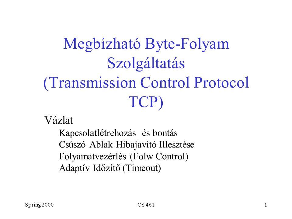 Spring 2000CS 4611 Megbízható Byte-Folyam Szolgáltatás (Transmission Control Protocol TCP) Vázlat Kapcsolatlétrehozás és bontás Csúszó Ablak Hibajavító Illesztése Folyamatvezérlés (Folw Control) Adaptív Időzítő (Timeout)