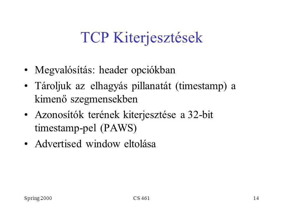 Spring 2000CS 46114 TCP Kiterjesztések Megvalósítás: header opciókban Tároljuk az elhagyás pillanatát (timestamp) a kimenő szegmensekben Azonosítók terének kiterjesztése a 32-bit timestamp-pel (PAWS) Advertised window eltolása
