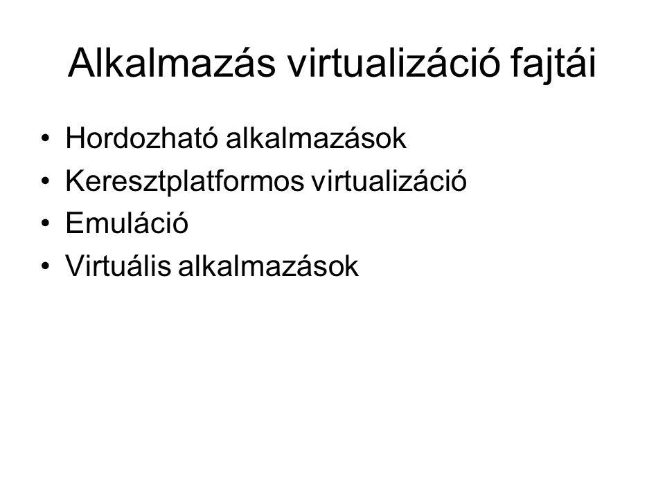 Alkalmazás virtualizáció fajtái Hordozható alkalmazások Keresztplatformos virtualizáció Emuláció Virtuális alkalmazások
