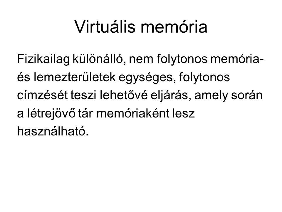 Virtuális memória Fizikailag különálló, nem folytonos memória- és lemezterületek egységes, folytonos címzését teszi lehetővé eljárás, amely során a létrejövő tár memóriaként lesz használható.