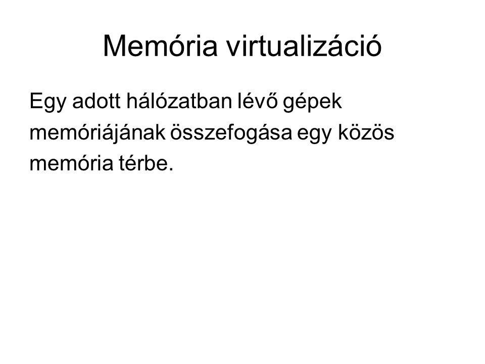 Memória virtualizáció Egy adott hálózatban lévő gépek memóriájának összefogása egy közös memória térbe.