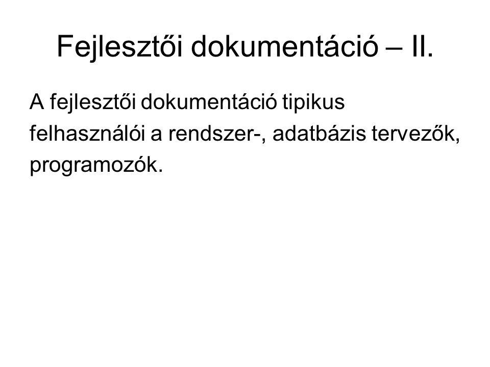 Fejlesztői dokumentáció – II.
